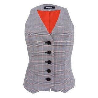 Nine West Women's Plaid Five-Button Vest (6, Sunset Multi) - sunset multi - 6