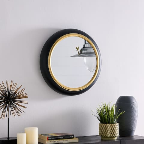 16.5 in Round Wall Mount Accent Mirror with Black Metal Frame and Gold Trim