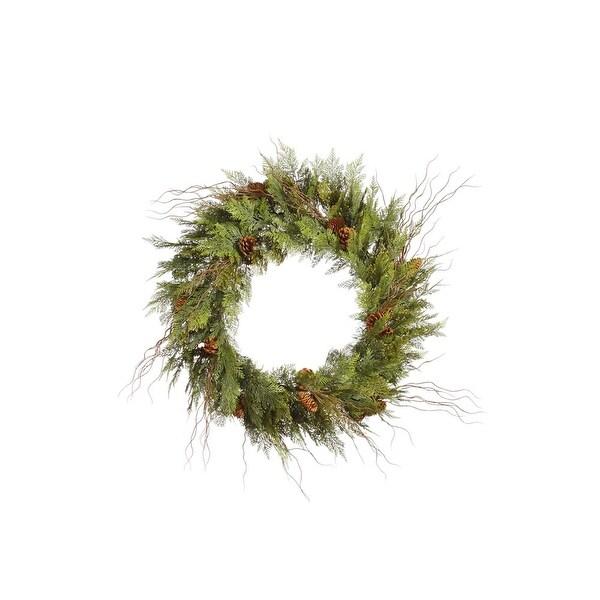 """24"""" Cedar Twig Pine Cone Wreath 110T"""