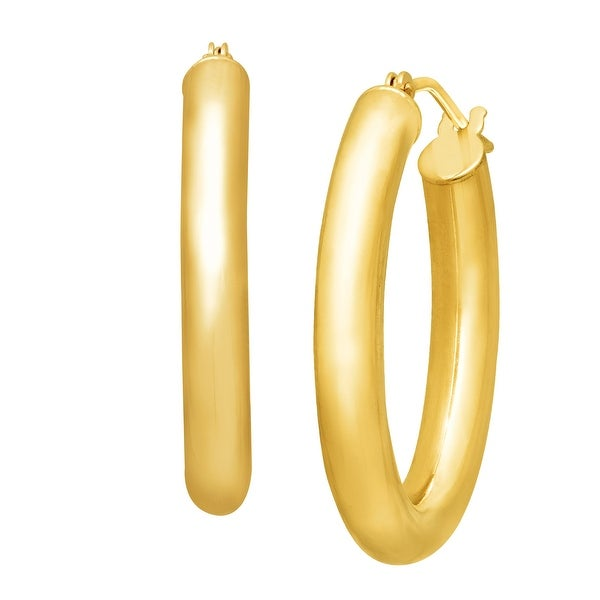 Just Gold Polished Oval Hoop Earrings in 14K Gold - YELLOW