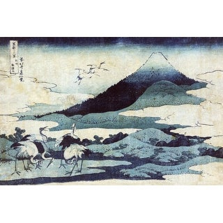 Cranes in Flight with Mount Fuji Japanese Wood-Cut (100% Canvas Tote Bag Gusset