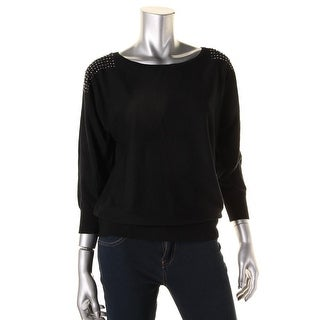Cable & Gauge Womens Ribbed Trim Dolman Sleeves Pullover Sweater