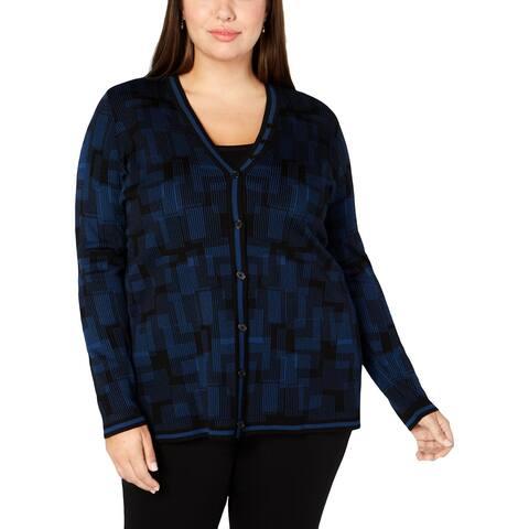 Anne Klein Womens Plus Cardigan Sweater Pattern Long Sleeves - 0X
