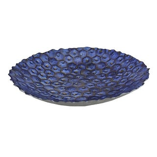 Electric Blue Metallic Foil Finish Round Dimpled Art Glass Platter 13 Inch