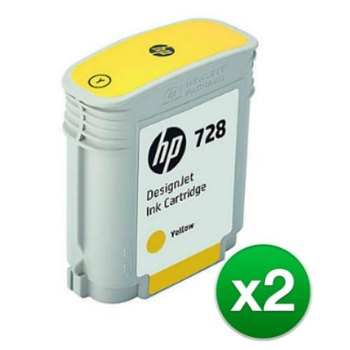 HP 728 Yellow DesignJet Ink Cartridge (F9J61A)(2-Pack)