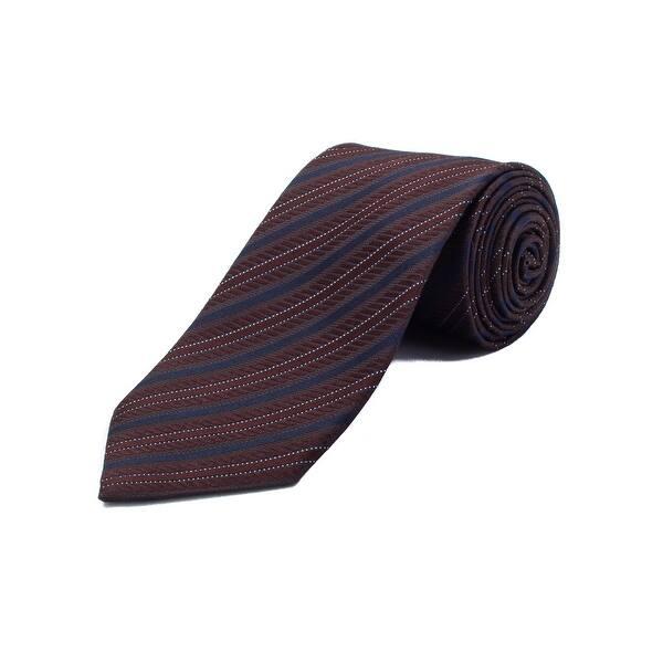 1e573412 Ermenegildo Zegna Men's Silk Striped Tie Brown Blue - No Size