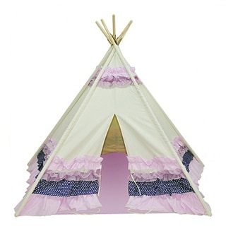 Children's Pretty in Pink and Purple Ruffles Canvas Teepee Tent 72 Inch