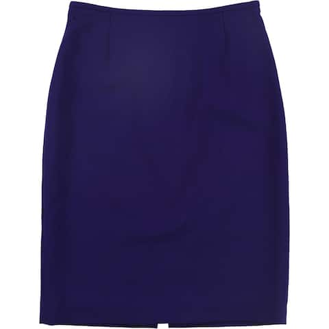 Tahari Womens Solid Pencil Skirt, Purple, 2