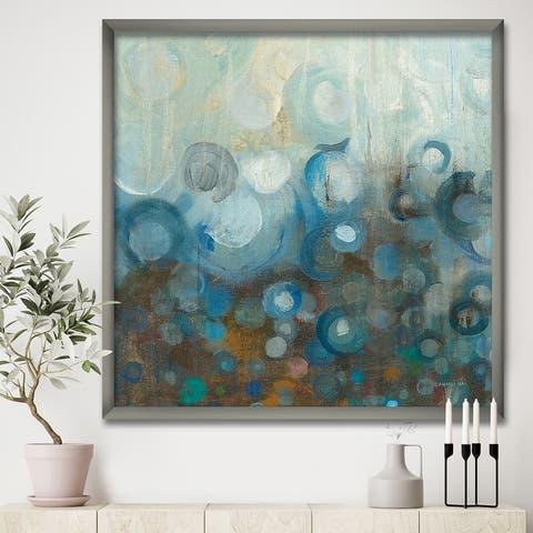 Designart 'Blue and Bronze Dots on Glass I' Modern & Contemporary Framed Art Print
