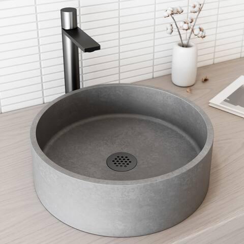 VIGO Concreto Stone Composite Round Bathroom Vessel Sink in Gray