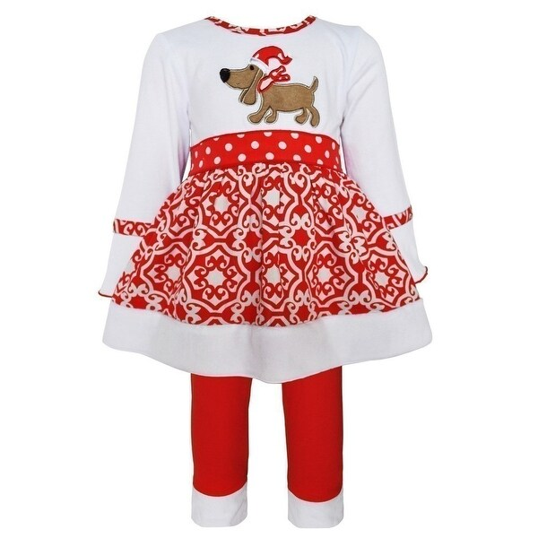 Baby Girls White Red Christmas Dog Applique Pants Outfit 6-24M