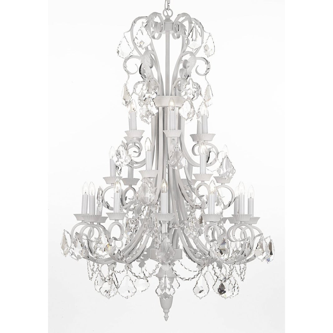 Shop Black Friday Deals On Large Foyer Entryway White Wrought Iron Crystal Chandelier On Sale Overstock 18744816