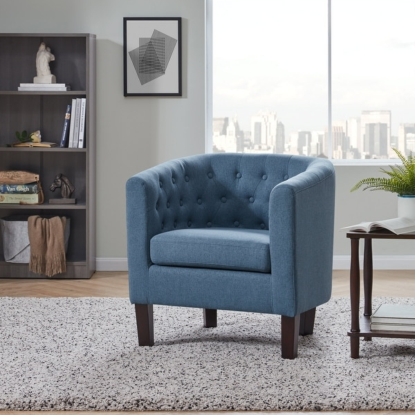 BELLEZE Upholstered Tufted Linen Club Chair Arm Chair, 11 Colors - standard. Opens flyout.