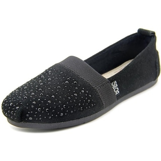 Bobs by Skechers Luxe Bobs - Galaxy Women Square Toe Suede Black Flats