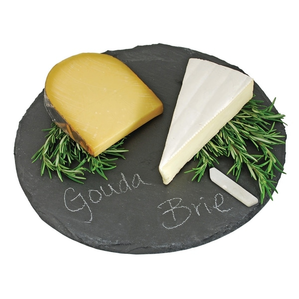"""Circle Slate Cheese Board by Twine - Black - 0.5"""" x 12.5"""". Opens flyout."""