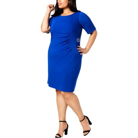 Jessica Howard Womens Plus Sheath Dress Pleated Cocktail