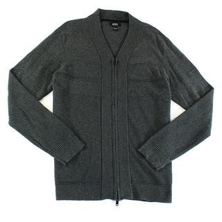 Alfani NEW Grey Mens Size Large L Texture Ottoman Knit Cardigan Sweater