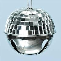 2.5 in. Winter Ice Silver Disco Ball Jingle Bell Christmas Ornament