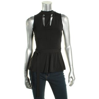 Guess Womens Peplum Top Ponte Cut out