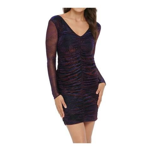 Guess Women's Dress Purple Size 16 Sheath Metallic Ruched V-Neck