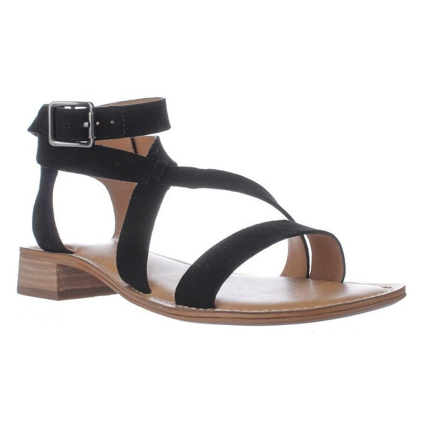 Franco Sarto Alora Flat Cross Strap Sandals, Black