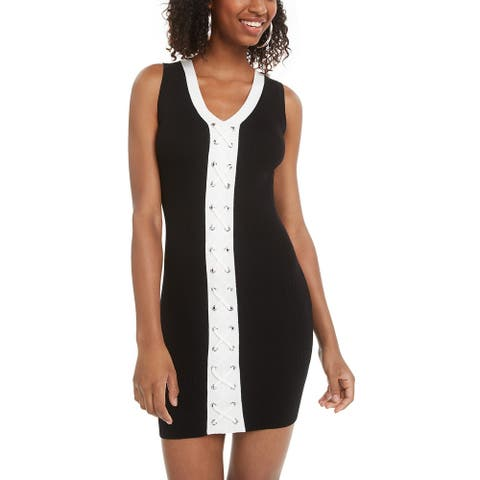 Planet Gold Juniors' Lace-Up Bodycon Dress Black Size XX-Small