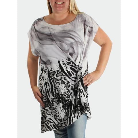 ALFANI Womens Gray Printed Dolman Sleeve Evening Top Size S