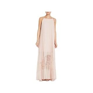 BCBG Womens Slip Dress Chiffon Overlay Lace Inset