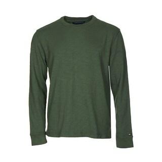 Tommy Hilfiger Cotton Sweater Large L Black Forest Green Crewneck Pullover