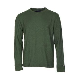 Tommy Hilfiger Cotton Sweater Medium M Black Forest Green Crewneck Pullover