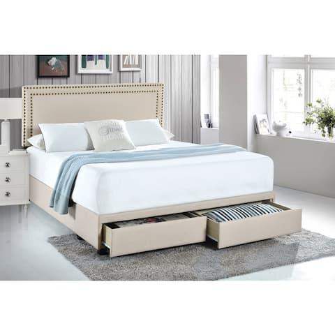 Button-tufted Platform Storage Bed