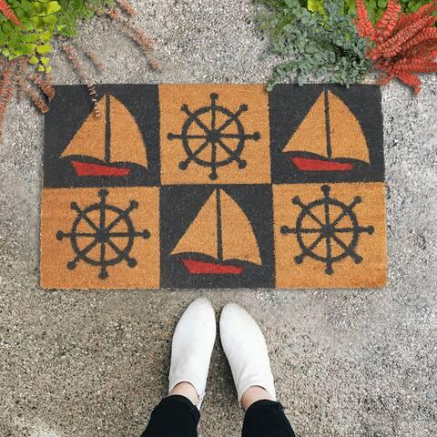 "GAURI KOHLI Natural Coir Doormat Nautical Wheel Sailboat (30"" X 18"")"