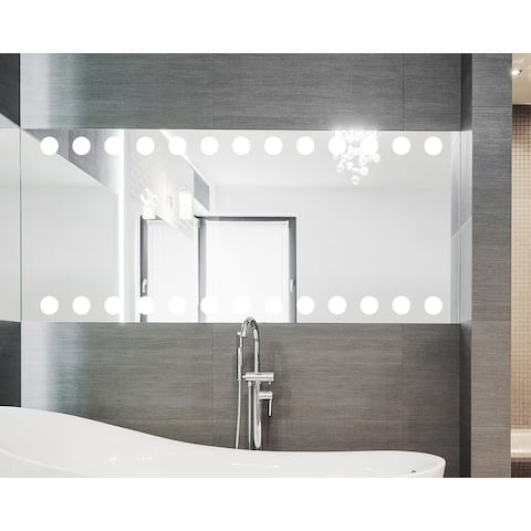 Contemporary Rectangle Bathroom Wall Mirror Circle Etched Floating Frameless Vanity Mirror Hangs Vertically or Horizontally