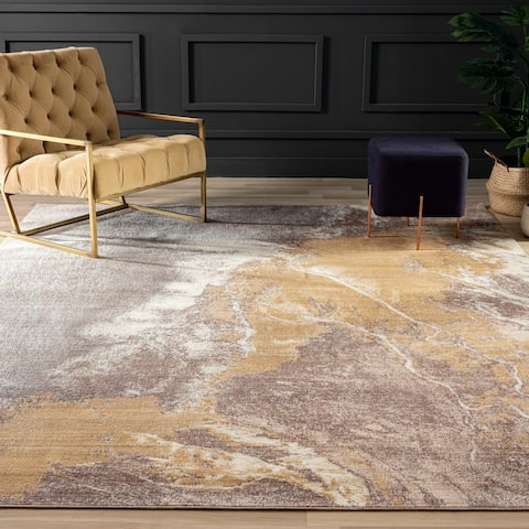 Marbled Earthy Abstract Area Rug