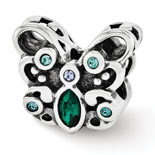 Sterling Silver Reflections Blue/Green Swarovski Elements Butterfly Bead (4mm Diameter Hole)