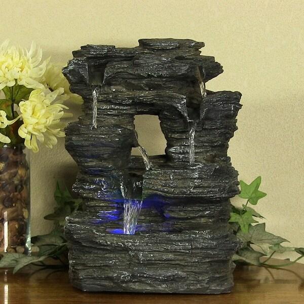Sunnydaze Five Stream Rock Cavern Tabletop Fountain with Multi Colored LED