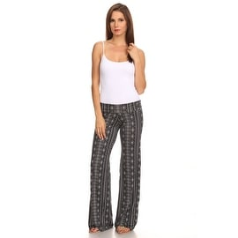 Women's Tribal Black Printed Palazzo Pants Made in USA