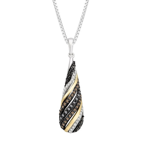 1/2 ct Champagne, Black & White Diamond Pendant in Sterling Silver & 14K Gold - champagne