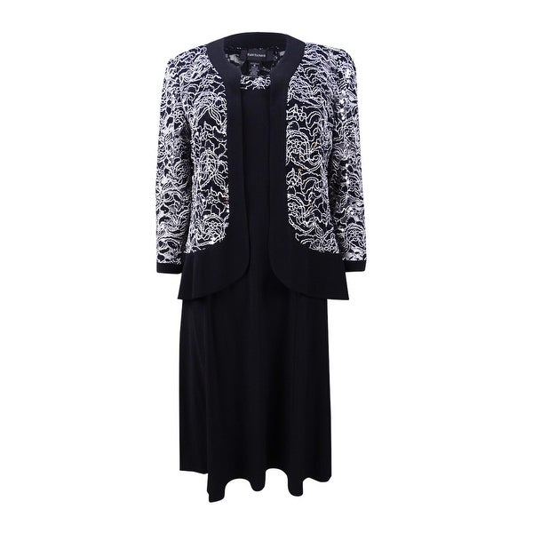 3bed40e811 Shop R&M Richards Women's Lace Ity Jacket Dress - Black/White - On ...