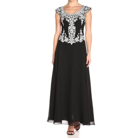 J Kara Womens Black White Size 12 Cap Sleeve Beaded Scoop Neck Gown
