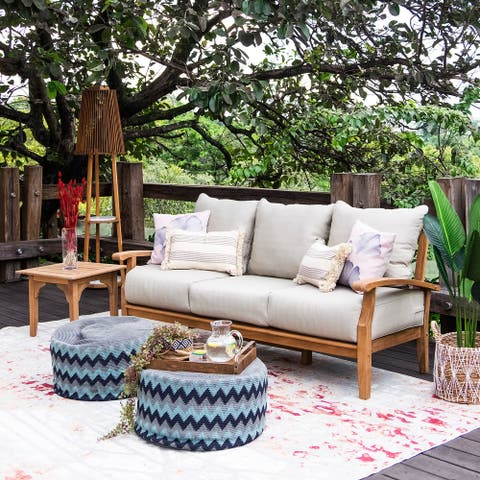 Leon Teak Patio Sofa with Cushion