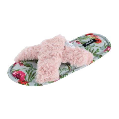 Kensie Women's Faux Fur Thong Slipper with Floral Insole