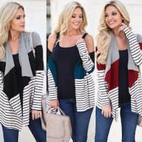 Cotton Women's Stitching Striped Cardigan