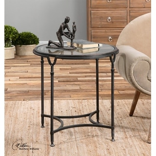 """25"""" Samson Black Steel with Silver Metal Undertones Clear Glass Side Table"""