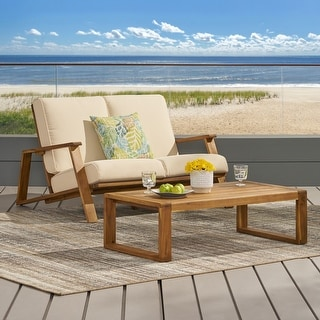 Link to Paloma Outdoor Acacia Wood Loveseat Set with Coffee Table by Christopher Knight Home Similar Items in Outdoor Sofas, Chairs & Sectionals