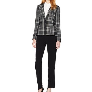 Tahari by ASL NEW Gray Women's Size 16 Plaid Printed Pant Suit Set