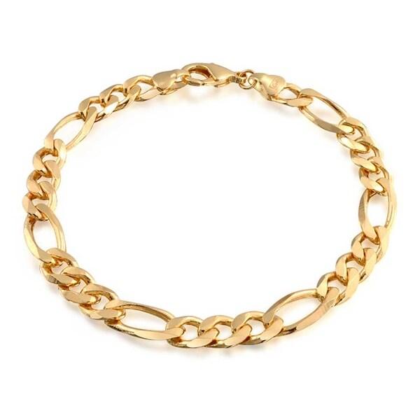 57e3cd3e9d65c Mens Figaro Link Bracelet 180 Gauge Heavy High Polish 18K Gold Plated Brass