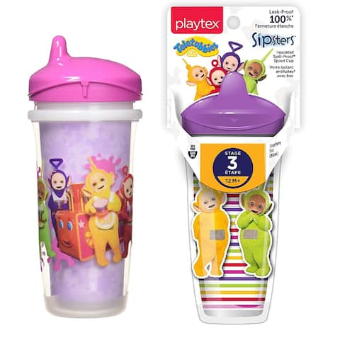Playtex Teletubbies Sipsters, Stage 3, 12M+, 9 Oz, Pink and Purple, 2 Cups