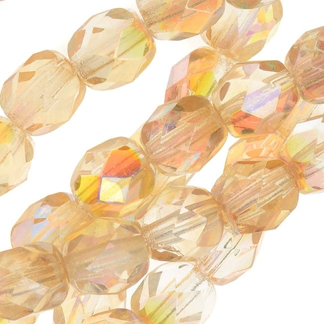 """6MM  AGATE GEMSTONE YELLOW FACETED ROUND LOOSE BEADS 14.5/"""""""