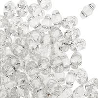 Czech Glass MiniDuo, 2-Hole Beads 2x4mm, 8 Gram Tube, Crystal Silver Lined